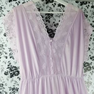 Vintage Texsheen sexy lace trim maxi nightgown L